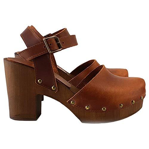 Kiara Shoes Zoccoli Svedesi in Cuoio Marrore/Nero Made in Italy - MY-126 (40 EU, Marrone)
