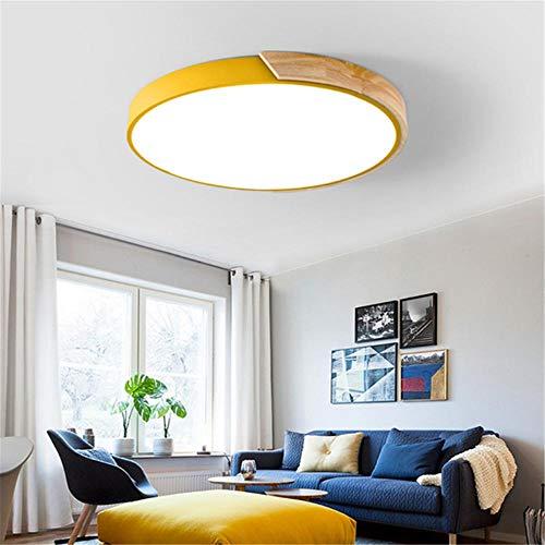 Marco de Madera PlafónLuz LED redonda con marco de madera maciza ajustable con control remoto-Amarillo 60CM-54W,[Clase de eficiencia energética A].