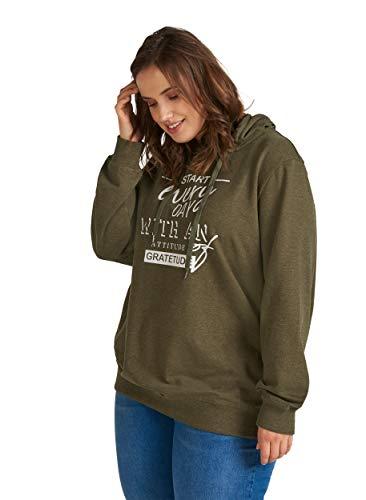 Zizzi Damen Große Größen Sweatshirt mit Kapuze und Print Gr 42-56