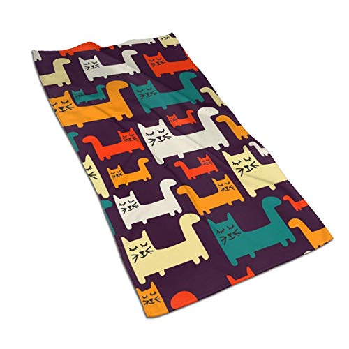 Tyueu Toallas de mano con patrón colorido con gatos muy absorbente toalla de microfibra de secado rápido 27.5 pulgadas x 15.7 pulgadas