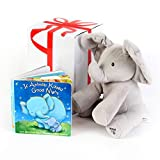"""GUND BABY ANIMATED FLAPPY THE ELEPHANT PLUSH TOY with """"IF ANIMALS KISSED GOOD NIGHT"""" Book,Free Gift Box ,For Birthdays 