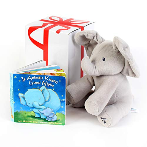 """GUND BABY ANIMATED FLAPPY THE ELEPHANT PLUSH TOY with """"IF ANIMALS KISSED GOOD NIGHT"""" Book, Free Gift Box. For Birthdays, Holidays, Baby Showers. For Babies And Toddler Toys. Gift set bundle by Rimon."""