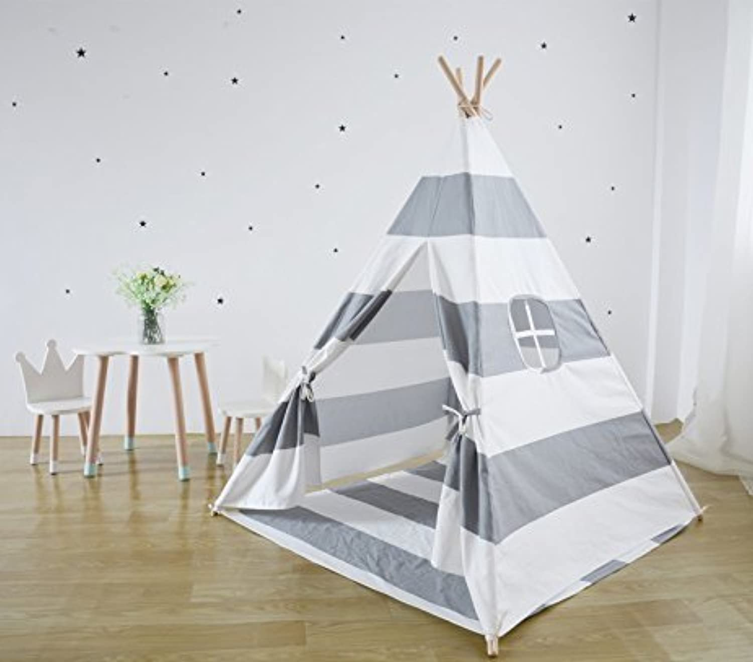 Miyaya 6' Indoor Indian Playhouse Toy Teepee Play Tent for Kids Toddlers Canvas Teepee with Carry Case with Mat (Grey Stripe)