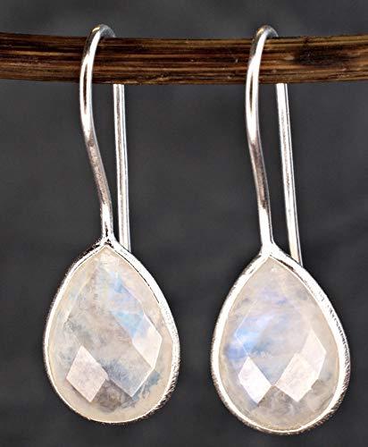Ohrringe Mondstein - Silber 925 Sterling - Tröpfchen Hängend - Moonstone Ohrhänger