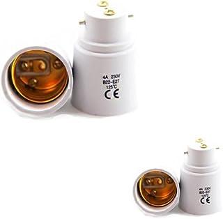 FISHTEC ® Lot de 4 - Adaptateur de Douille B22 vers E27 - Convertit le Culot de l'Ampoule de Baillonette en Vis - Normes C...