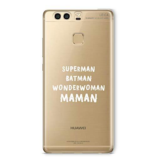ZOKKO Coque Huawei P9 Superman Batman Wonderwoman Maman - Souple Transparente Encre Blanc