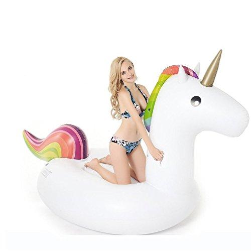 Einhorn Luftmatratze Aufblasbarer Pool Floß, Aufblasbar Schwimmen Floß PVC Aufblasbarer Schwebebett für 2-3 Personen Wasser Spielzeug (Small)