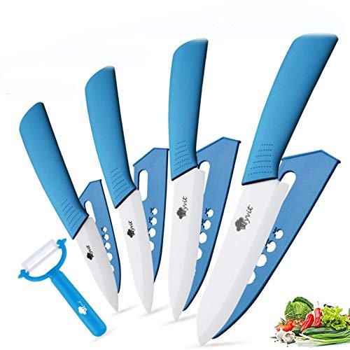 Cuchillos de cerámica Cuchillos de cocina 3 4 5 5 pulgadas CHEF CHEF COCK SET + PEELER BLANCO BLANCO BLADE HABLA MULTI-color HANDA CALIDAD (Color : BLUE)