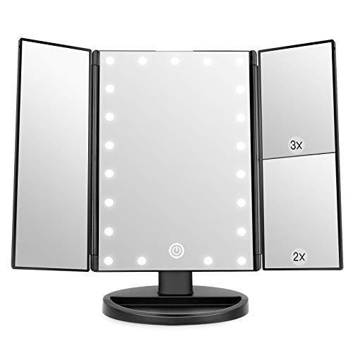 WEILY Espejo de Maquillaje, 1x / 2X / 3X Espejo de Maquillaje de Tres Pliegues con 21 Luces LED y Pantalla táctil Ajustable Espejo Iluminado Tocador Espejos cosméticos de encimera (Negro)