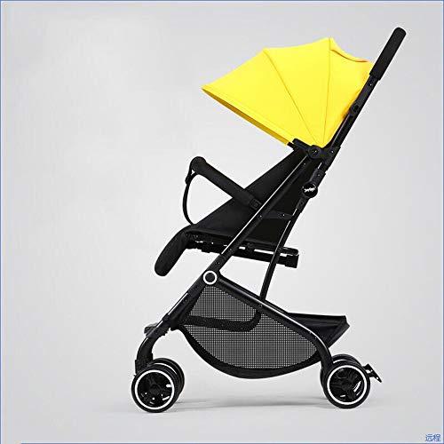 Carrito de bebé ultraligero plegable con ruedas reclinables para niños, de ALULALABA amarillo amarillo
