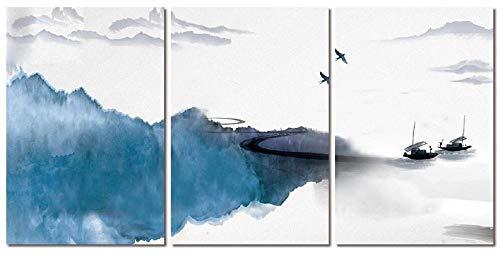 Tríptico Cuadros Lienzo De Arte 3 Piezas Paisaje De Barco De Mar Azul Personalidad Pintura Al Óleo Sala De Estar Dormitorio Comedor Tríptico Abstracto Decor Mural-A1