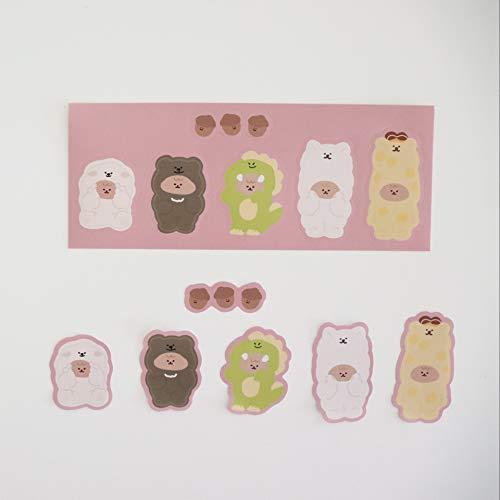 Korean cartoon Bear Dinosaur Sticker DIY Scrapbooking happy girl Junk Journal stationery Diary photo Album Decoration sticker