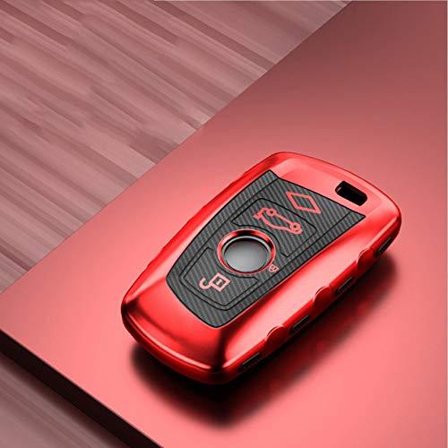 YJLOVK Para el Nuevo Caso de la Cubierta de la Llave del Coche del patrón de la Fibra de Carbono para BMW 1 3 5 7 Serie X3 X4 M3 M4 M5 E34 E36 E46 E90 F10 F18 F30 118i 320i, B, Llavero Rojo
