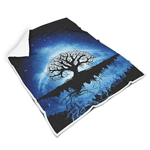 YxueSond Tree of Life Flanell Fleecedecke Soft Warm Vlies Decke White 130x150cm