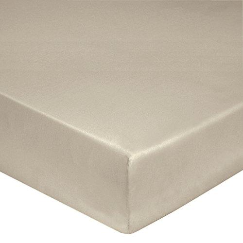 Blanc des Vosges Uni Percale Drap housse Coton Chanvre 140 x 190 cm Bonnet de 30 cm