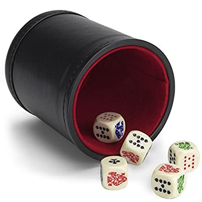 Brybelly Set of 5 Poker Dice with Professional Bicast Leather Dice Cup, Great for Travel