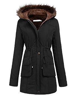 Meaneor Womens Hooded Parka Jacket Warm Winter Coat Faux Fur Trim Black