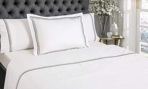 NORA HOME Set di lenzuola Lineal con triplo bordo, 100% cotone satinato da 300 fili, con lenzuolo con angoli incluso, tutte le misure, colore: grigio antracite, letto da 150/160 cm
