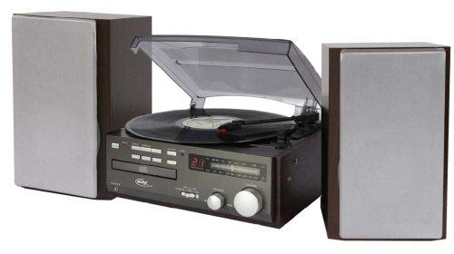 Elta 2750 G Kompaktanlage (CD-Player, Plattenspieler, UKW-/MW-Tuner, 100 Watt PMPO Stereo-Lautsprecher, Kopfhöreranschluss) grau