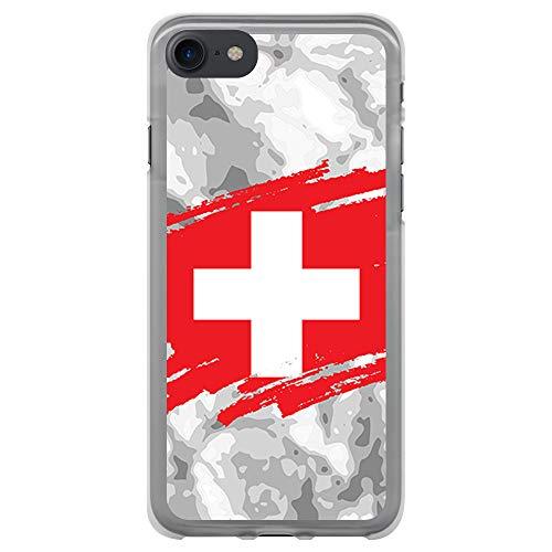 BJJ SHOP Custodia Trasparente per [ iPhone 7 / iPhone 8 ], Cover in Silicone Flessibile TPU, Design: Bandiera Svizzera, Sfondo Astratto Pennello