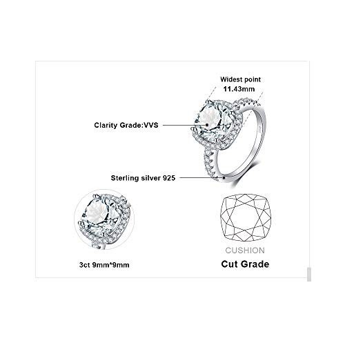 Jewelrypalace Women's 3ct Cubic Zirconia Cz Wedding Band Anniversary Halo Engagement Ring 925 Sterling Silver Size 7