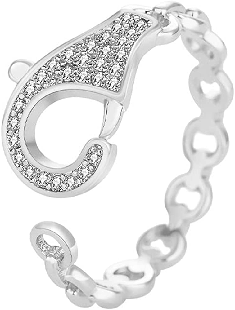 Cubic Zirconia Handcuff Eternal Chain Band Rings for Women Girls Statement Finger Tail Adjustable Expandable Stackable Fashion Chic Ring Dainty Gifts BFF Birthday Girlfriend Jewelry