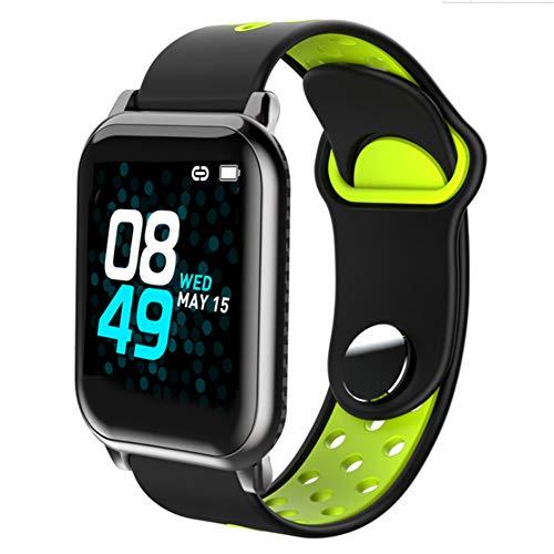 Pedómetro de fitness Presión impermeable Reloj inteligente, Actividad Health Color Pantalla Toque Pantalla de sangre con cámara de sueño Monitor de ritmo cardíaco para banda deportiva,Black green