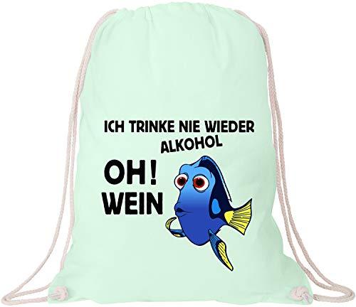 EZYshirt® JGA Junggeselinnerabschied   Ich trink nie wieder Alkohol ! Oh ! Wein Baumwoll Stoffbeutel