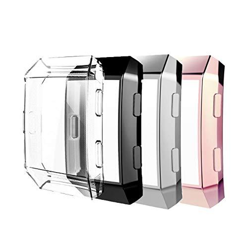 Five Star Online Kompatibel mit Fitbit Ionic Displayschutzfolie, Rundumschutz aus TPU, robuste Schutzhülle, 3 Stück, kratzfest, für Fitbit Ionic Smartwatch (transparent, schwarz, silber, rosa)