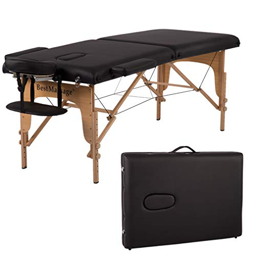 Discover Bargain Massage Table Massage Bed Spa Bed 84 Inches PU Portable Massage Bed 2 Fold Heigh Ad...