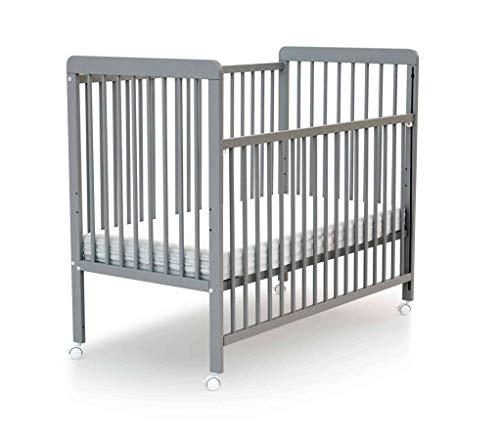 Lit bébé coulissant à barreaux gris 60x120