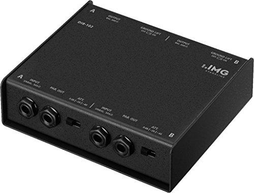 IMG STAGELINE DIB-102 2-Kanal DI-Boxen, Direct Injection Box zur optimalen Signalübertragung von Musikinstrumenten zum Mischer oder Verstärker, in Schwarz