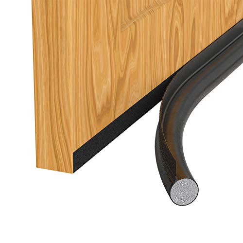 H HOMEWINS Zugluftstopper für Türen - Schwarz Selbstklebend Türdichtung gegen Zugluft - Energiesparende Zuschneidbare Türbodendichtung bis zu 90cm - Schutz vor Lärm und Kälte