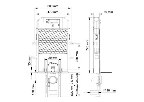 Cisterna de montaje empotrada para montaje en pared cisterna para montaje en pared