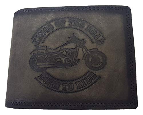 Echt leren motorfiets portemonnee Harley Born to Ride AS grijs van Winkelmagie
