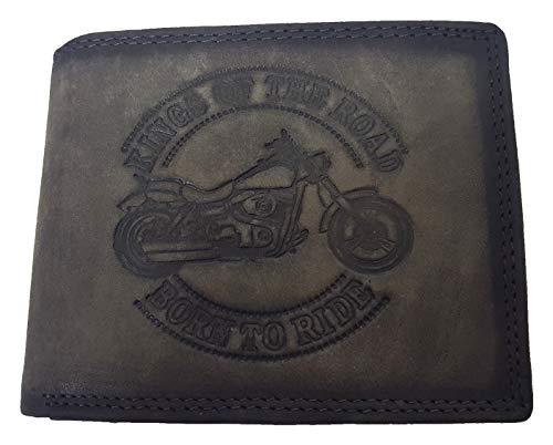 Billetera de piel auténtica para moto, Harley Born to Ride AS, color gris
