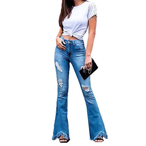 Shujin - Pantalones vaqueros para mujer, estilo retro, cintura alta, con cinturón Azul A. 38
