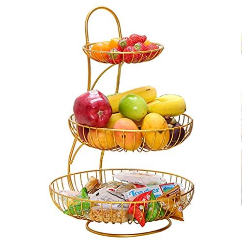 XYF Frutero Y Canasta Soporte De Cesta De Frutas De Alambre De Metal, Mesa De Centro para Sala De Estar, Refrigerios Simples, Estante De Tres Capas (Color : Gold, Size : 30x30x45 cm)