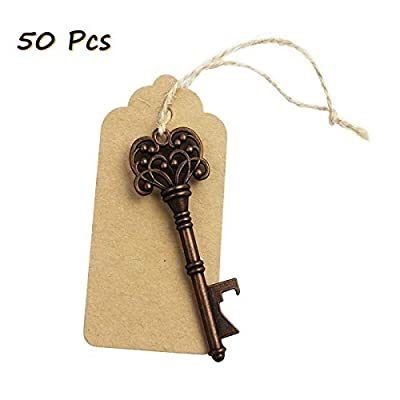 50pcs Wedding Favors Rustic Vintage Skeleton Key Bottle Opener with Escort Tag Card and Twine, party favors for adults by iPihsius