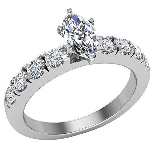 Anillos de compromiso para mujer, talla marquesa de oro blanco de 14 quilates, 0,60 quilates (H, SI), certificado GIA (tamaño del anillo 7,5)