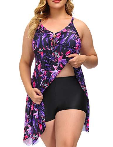 Women's Tummy Control Swimsuit Vintage Skirted Bathing Suit with Boyshort 16W