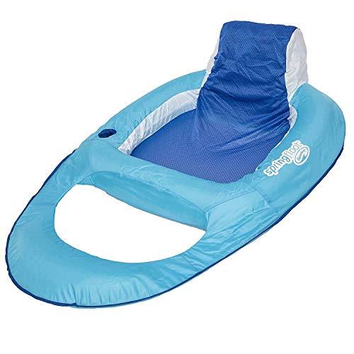 SwimWays Spring Float Recliner - Swim Lounger for Pool or Lake - Light Blue/Dark...
