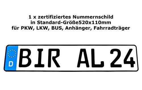 1 x Kennzeichen | 520x110mm | Nummernschilder | KFZ Auto PKW LKW | DHL-Versand