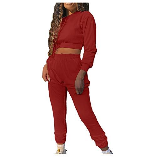 Trajes y Conjuntos de Mujer, Pantalones de Color sólido de Moda para Mujer, Traje Informal de Manga Larga, Jersey Corto, Ropa para Mujer (Rojo XL)