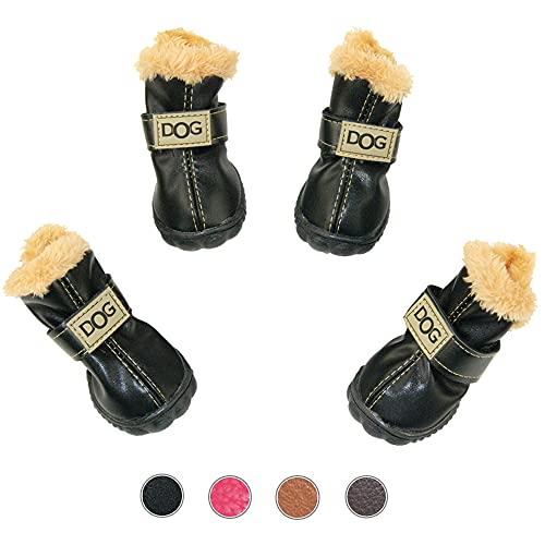WINSOON Dog Australia Boots Pet Antiskid Shoes Winter Warm Skidproof Sneakers Paw Protectors 4-pcs Set (Size 3, Black)