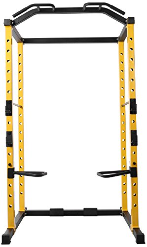 Product Image 5: HulkFit 1000-Pound Capacity Multi-Function Adjustable Power Cage with J-Hooks and Dip Bars, Power Cage Only, Yellow