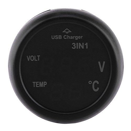 Qiilu Zigarettenanzünder Voltmeter, Auto LKW 3in1 Dual LED Digital Display Voltmeter Thermometer Zigarettenanzünder USB Auto Ladegerät(Grün+Rote)