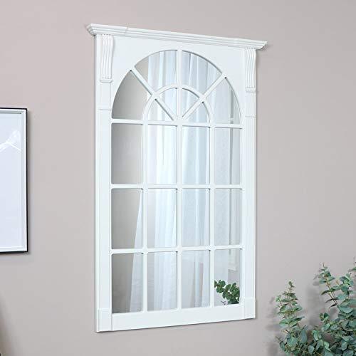 Melody Maison Espejo grande de madera blanco para ventana