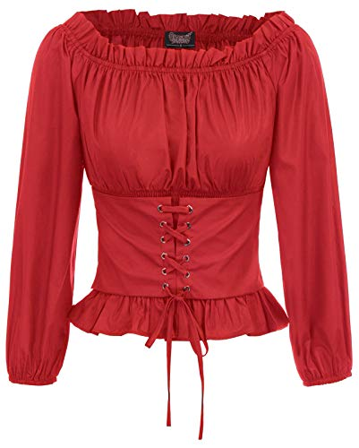 Blusa Mujer Blusa Decorada con Encaje Vintage Camisa de Oficina Elegante de Manga Larga Camiseta Casual Rojo 2XL SL066-3