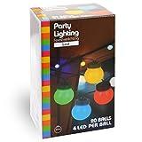 LED Guirlande lumineuse multicolores de 9,5 m avec 20 balles pour intérieur extérieur Décoration pour Guinguettes, Fêtes, Anniversaire, Mariages